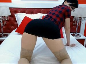 Naughty woman with short hair spreading ass and