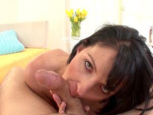 Busty brunette Roxanne Hall is swallowing sperm