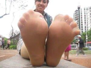 Stinky tan pantyhose feet after work!