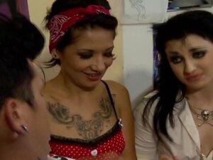 Tattooed slut group suck cock
