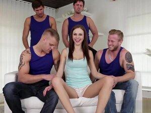 Tina Kay gagging on four cocks,
