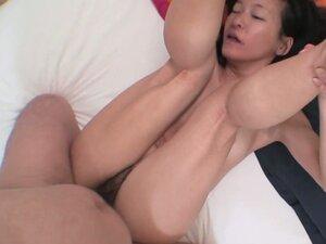 Dirty granny Aya Sakuma with small and hanging off