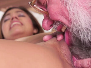Brunette angel fucked by an old man