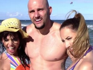 Sluts gets their pussy fucked hard on the Beach