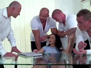 Bratty Daughter DP Gangbanged by Dad and All His