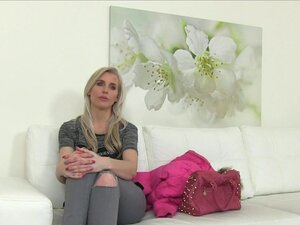 Blonde throat and cunt banged in casting, Amateur