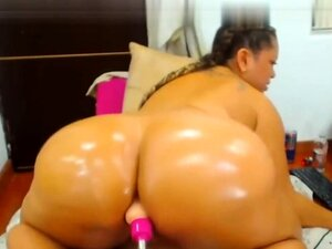 Smut black haired youngster girl toys giant fat