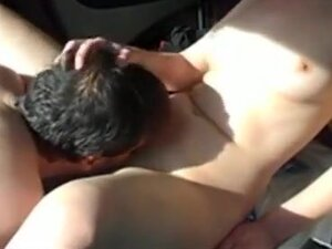 Dude fucks his gf missionary in the trunk of his