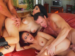 Beautiful chicks swallow sperm in group sex clip