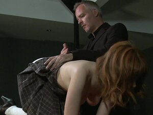 Redhead in bdsm spanked and anal fucked, Shackled