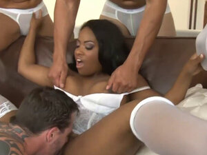 Pretty ebony gets her ass rammed by huge black