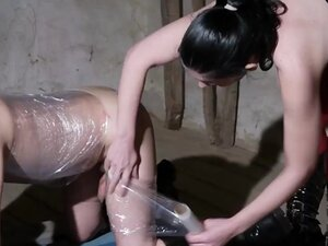 Dominatrix slut serves her slave with a BDSM fun,