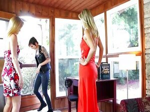 Blondes and brunette in lesbian threesome