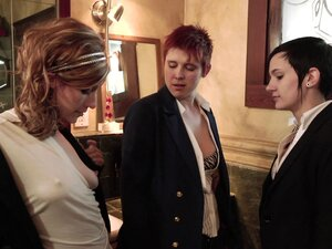 Three chicks sneak into the bathroom for a lesbian
