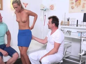 Doctor assists with hymen checkup and defloration