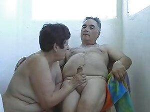 Mature Wife Wanking Husband outside