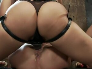 Sexy MILF is bound down, suffers hard caning &