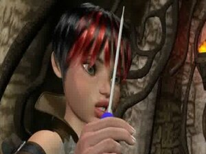 Sexy 3D cartoon Lara Croft toying her wet