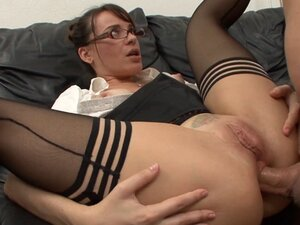 Nasty sex in the office with brunette secretary