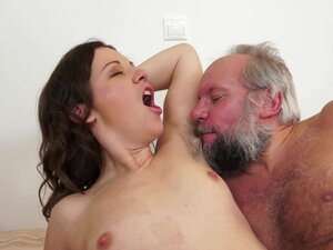 Hairy brunette gets pounded by old guy in the
