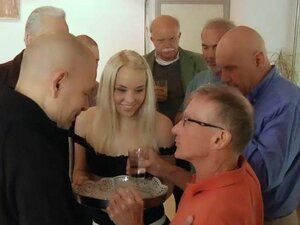 Old bussinesmen fucks in group young maid at a