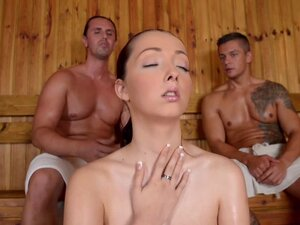 Lucie Wilde shares the sauna with two hot guys