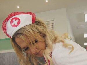 Nurse TBabe Kayleigh Coxx kneels and start sucking