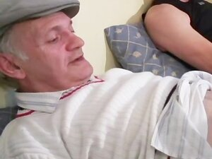 Papy and his friend fucking a big tits redhead