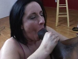 Big tits black haired chick sucking
