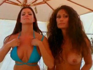 Two awesome busty babes in vintage HD video, Two