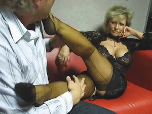 Granny has perfect stockings for fetish, Mature