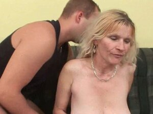 Older mom with big tits and hairy pussy gets
