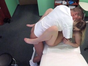 Natural blonde patient fucks doctor in his office