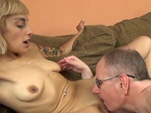 Young blonde slut with a tight body fucks an older