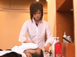 Asian model is a hairdresser in a sexy part1