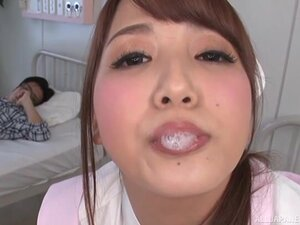 Japanese nurse gives an amazing blowjob and