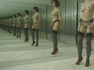 Slut in stockings strips before dressing room