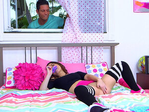 Kylie Rose masturbates as her brother's friend
