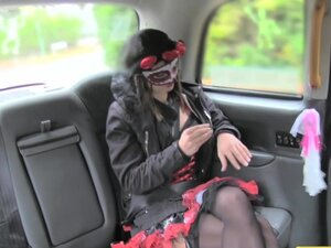 FakeTaxi Lady in fancy dress does anal on