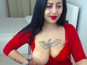 red dress nice girl show her bigtits