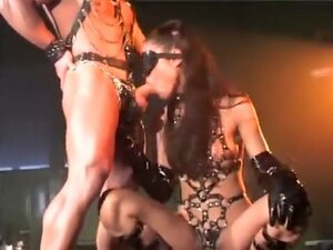 Blindfolded slave gets drilled by her master while