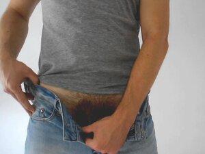 Solo man masturbating in jeans