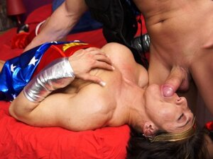 Muscular costume girl drilled by the thickness of