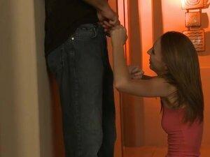 Slender redhead Rachel give a blow,