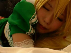 Unshaved asian cosplay babe pounded