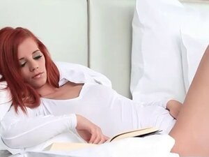 Teenage redhead doll exploring her hot assets in