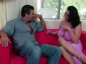 Angelica Sin bounces her big tits while riding his
