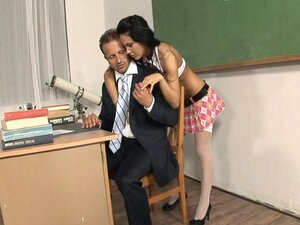 Student banged on the classroom desk by her studly