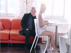 Blonde teen Tanya surprised by the old man' s
