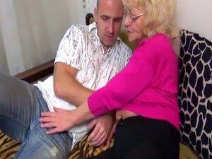 Granny foreplay with young guy